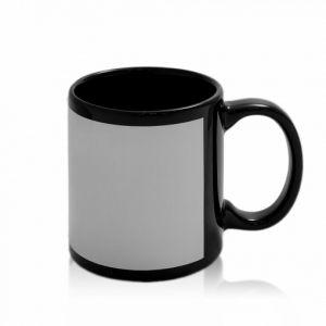 Кружка черная с белым окошком (для сублимации)