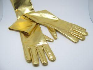 Перчатки блестящие золотые