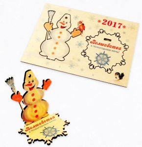 """Елолчная игрушка- открытка """"Весёлый снеговик"""""""