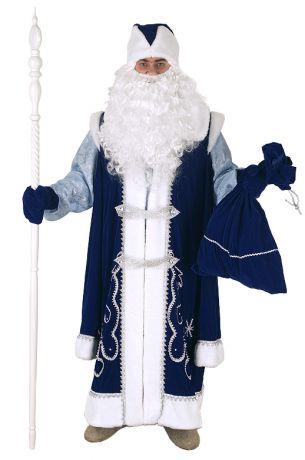 Костюм Деда Мороза с рубахой синий.