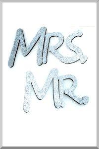 Слова для фотосессий MR и MRS (серебристый) (Ш:13 Д:25)