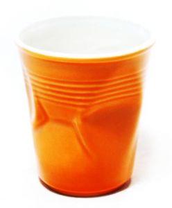 Стакан керамический мятый оранжевый