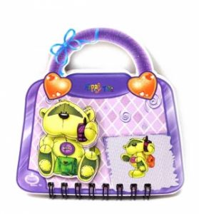 "Блокнот ""Мишка"" на сумочке фиолетовый"